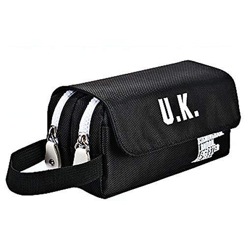 Estuche Neceser Escritorio Pencil Bag con Doble Apartado de Cremallera y Velcro, Doble Capacidad Estuche para lapices Estuche Grande para Cosmeticos Estuche (Negro)