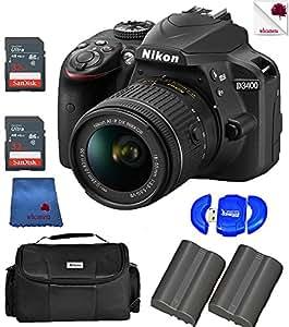 Nikon Black D3400 w/ AF-P DX NIKKOR 18-55mm VR Lens Kit (1571) USA - Full Accessory Doubles Bundle Package Deal