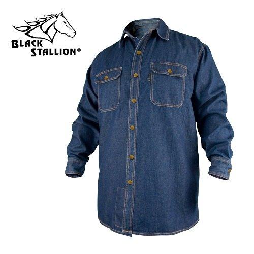 REVCO BLACK STALLION FR FLAME RESISTANT DENIM WORK SHIRT - FS8-DNM LARGE by Black Stallion
