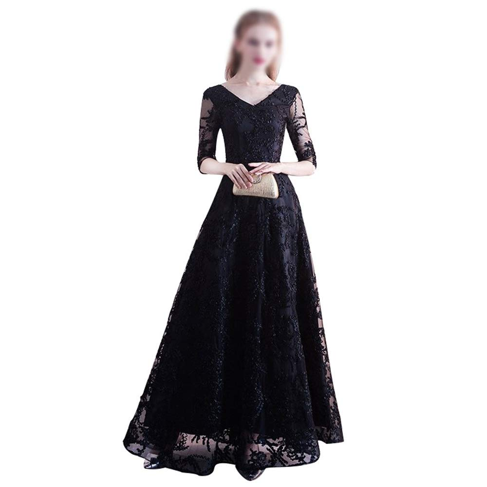 Black RABILTY Womens Black Long Slim Lace Embroidery Beads VNeck Elegant Party Dress (color   Black, Size   M)