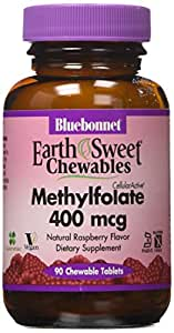 Bluebonnet Earth Sweet Cellular Active Methylfolate 400 mcg Chewable Tablets, 90 Count