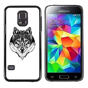 iKiki Tech / Estuche rígido - Wolf Black White Drawing Art Eyes - Samsung Galaxy S5 Mini, SM-G800, NOT S5 REGULAR!