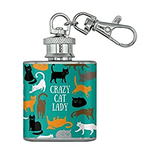 Crazy Cat Lady Teal Orange Black Brown Stainless Steel 1oz Mini Flask Key Chain