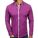 Shirts For Men, HOT SALE !! Farjing Men's Autumn Casual Formal Slim Fit Solid Long Sleeve Shirt Top Blouse(XL,Purple )
