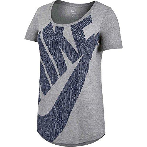 Nike Tee-BF Futura GLYPH Fill - Camiseta para mujer Gris / Negro (DK GREY HEATHER/DK GREY HEATHER/OBSIDIAN)