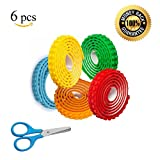 PROMOTIONAL OFFER LIMITED TIME - 5 Colors Block Tape Self-Adhesive Rolls Bonus Safety Scissors Lego Tape DYI Toy Building System Compatible With Lego Blocks Mayka Blocks - 15 Feet Long Total - 6 Pack