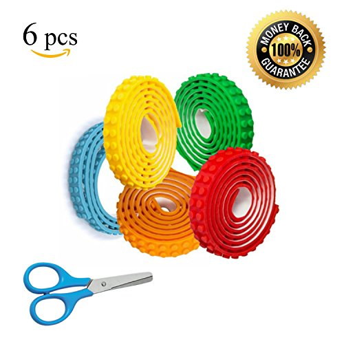 PROMOTIONAL OFFER LIMITED TIME - 5 Colors Block Tape Self-Adhesive Rolls Bonus Safety Scissors Lego Tape DYI Toy Building System Compatible With Lego Blocks Mayka Blocks - 15 Feet Long - With People Noses Wide