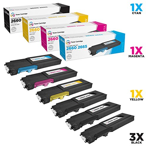 LD Compatible Toner Cartridge Replacement for Dell C2660dn & C2665dnf High Yield (3 Black, 1 Cyan, 1 Magenta, 1 Yellow, 6-Pack)