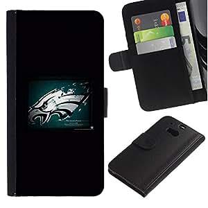 KLONGSHOP // Tirón de la caja Cartera de cuero con ranuras para tarjetas - Hawk Grunge - HTC One M8 //
