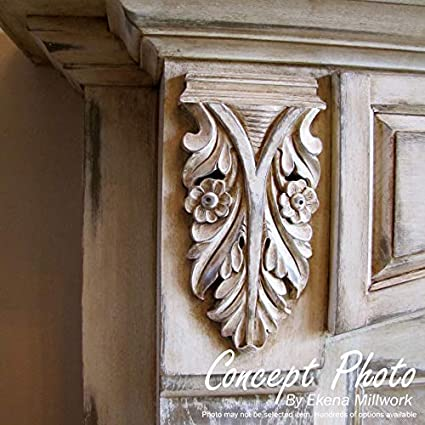 Lindenwood Ekena Millwork ONL09X04X01SWLW Each Side Medium Swaying Scrolls Pair 9 1//8-Inch x 4 1//8-Inch x 3//4-Inch