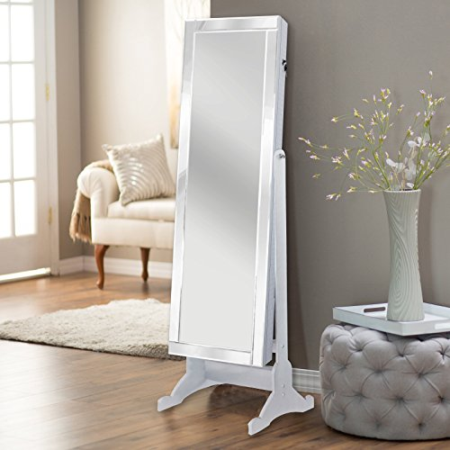 Iconic Home Glam Contemporary Pristine White Mirror-Border Cheval Mirror Jewelry Armoire (Vanity Armoire)