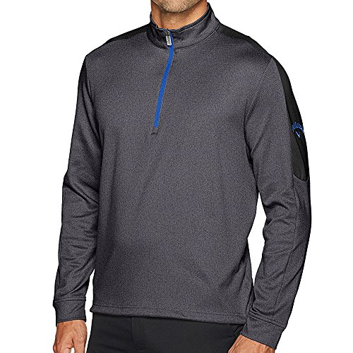 Callaway Men's Opti-Therm Long Sleeve Heather Waffle-Fleeced 1/4 Zip Midlayer Jacket, X-Large, Castlerock Heather