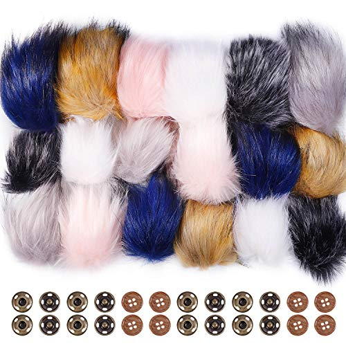 Anezus 18 Pieces Faux Fox Fur Pom Pom Ball with Press Button and Sewing Buttons for Knitting Hat Crocheted Hats Bag Charm Accessories Christmas Decoration