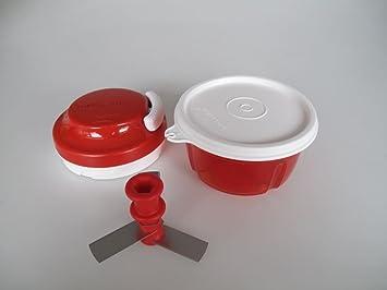 TUPPERWARE Turbo Chef rojo + Tapa para Turbo Max Turbo Chef blanco