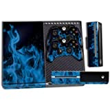 Designer Skin Sticker for the Xbox One Console With Two Wireless Controller Decals Ice Flame