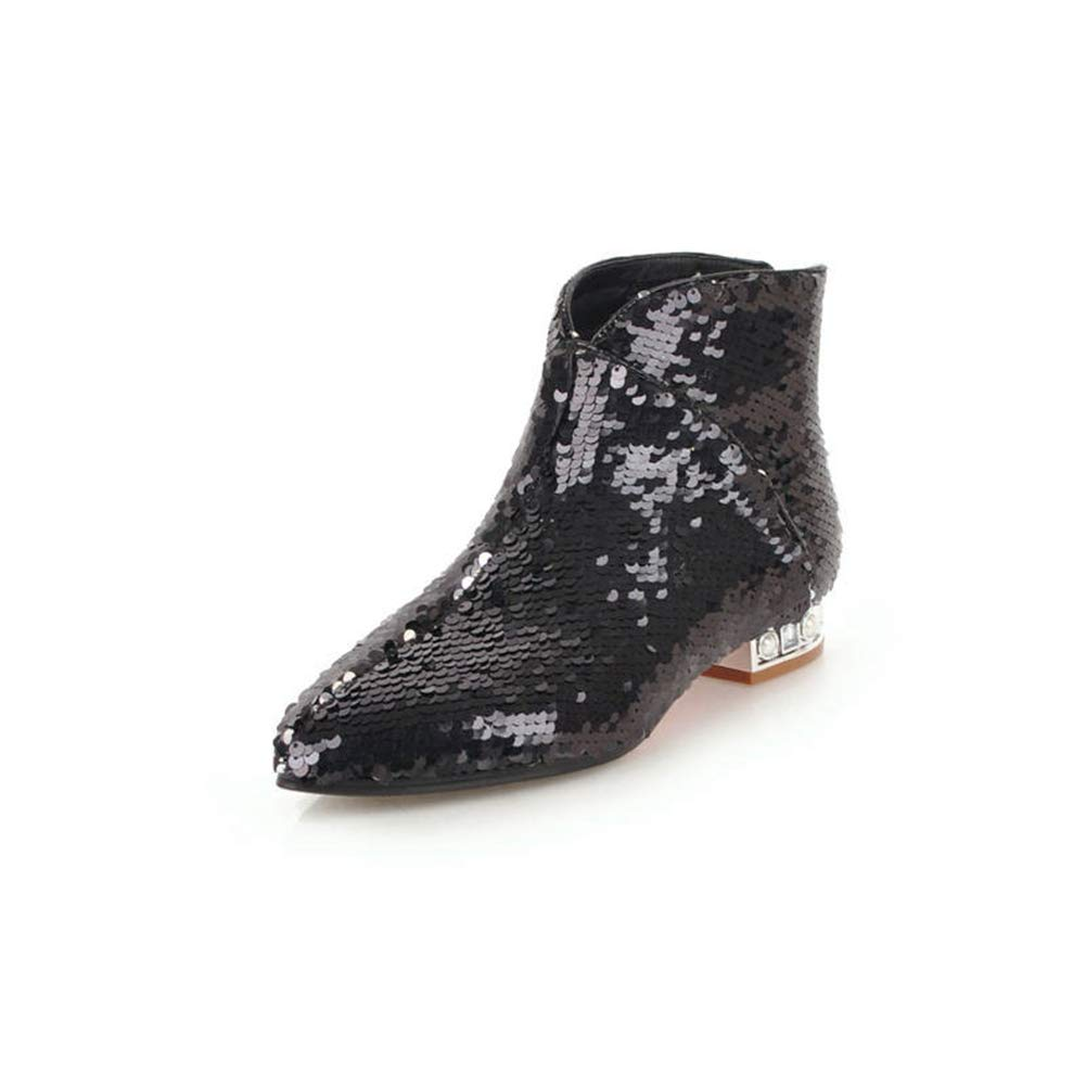 Black Zarbrina Womens Low Square Heel Ankle Boots Ladies Fashion Sexy Pointed Toe Zipper Up Slip On Short Plush Winter Warm Party Dress shoes