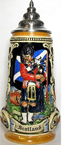 Beer Scottish (Scotland with Scottish Bagpiper LE German Beer Stein .5 L Made in Germany)