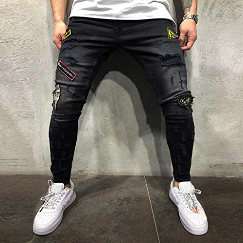 NUWFOR Mens Skinny Stretch Denim Pants Distressed Ripped Freyed Slim Fit Jeans Trousers(Black,US:27/AS:S Waist:28.0″)