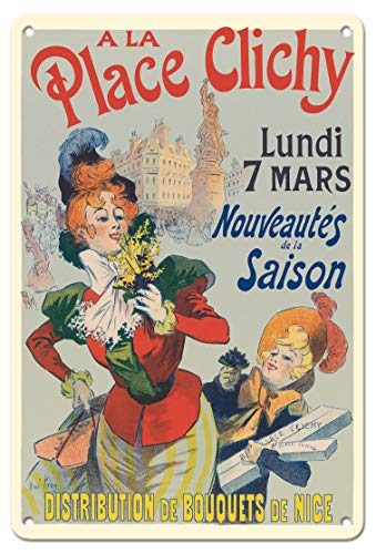 Pacifica Island Art 8in x 12in Vintage Tin Sign - A La Place Clichy - Paris, France - Nice Flower Bouquets Distribution by Rene Pean - Nice Vintage Art