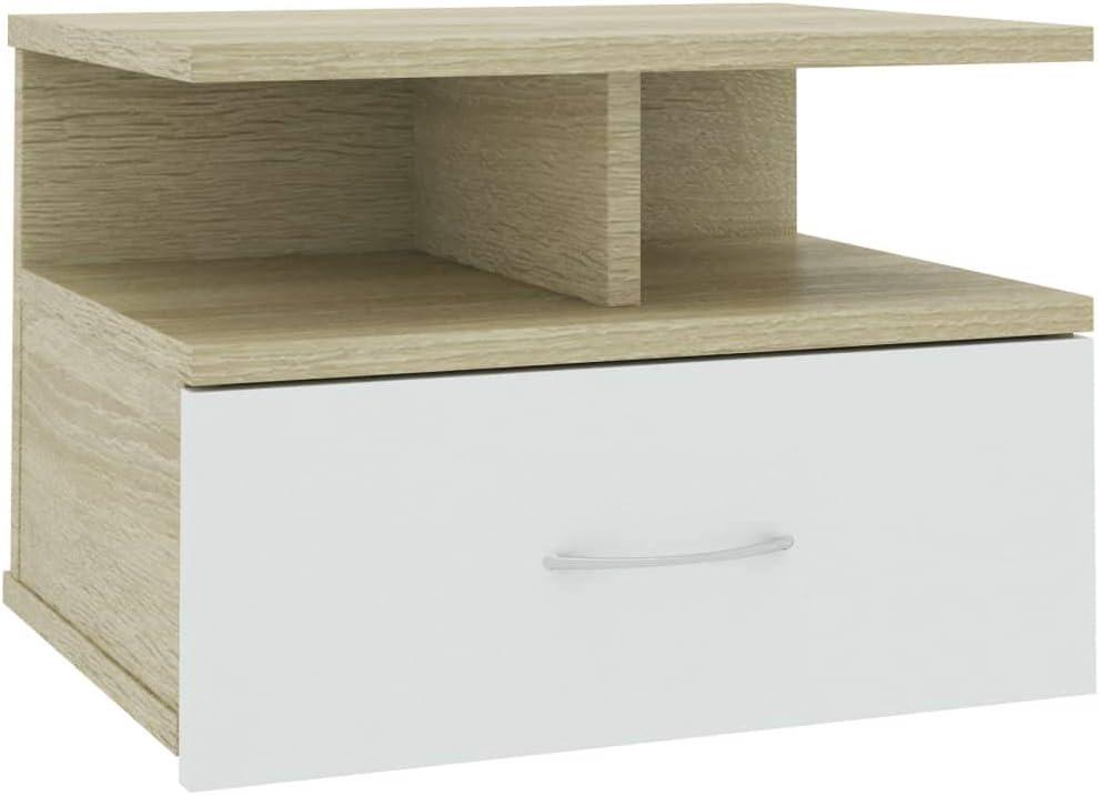 Table de Chevet Flottante Blanc et Ch/êne Sonoma Table de Nuit 40x31x27 cm Agglom/ér/é Irfora Armoire Murale avec Tiroir