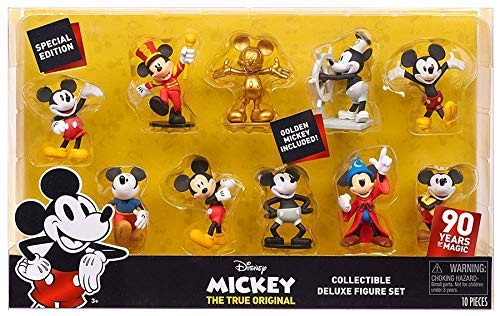 Special Edition 90 Years of Magic - DISNEY MICKEY THE TRUE ORIGINAL Collectible DELUXE Figure Set 10-Pack - Golden Mickey Included! - Gold Set Figurine
