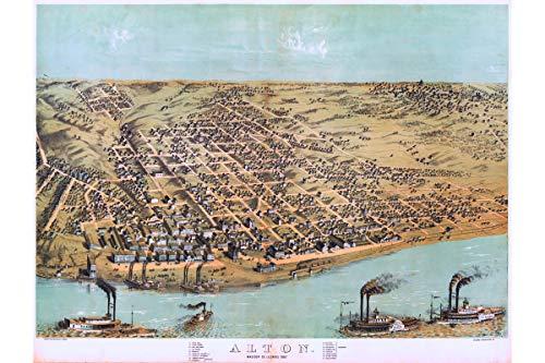 History Prints Map of Alton, Illinois Birdseye Map by Ruger; 1867; Antique Birdseye Map
