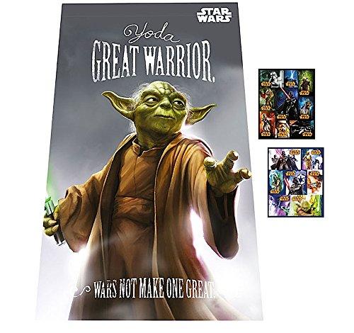 STAR WARS - Kuschel-Decke / Fleecedecke / Auto-Kuscheldecke - Motiv: Yoda - 100 x 150 cm - Tagesdecke + 16 Star Wars Sticker