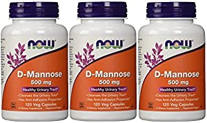 Now Foods D-mannose Healthy Urinary Tract 500 Mg 120 Veg Capsules (Pack of 3)