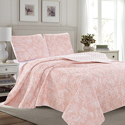(Great Bay Home 3-Piece Reversible Quilt Set with Shams. All-Season Bedspread with Floral Print Pattern in Contemporary Colors. Emma Collection Brand. (Full/Queen, Pink))