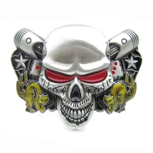Gothic Silver Evil Skull Head Double Dices & Cats Belt Buckle Western Motorcycle (Evil Buckle)