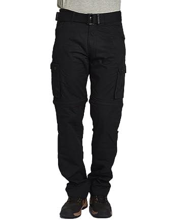 Black Beevee Mens Black Casual Cargo Pants