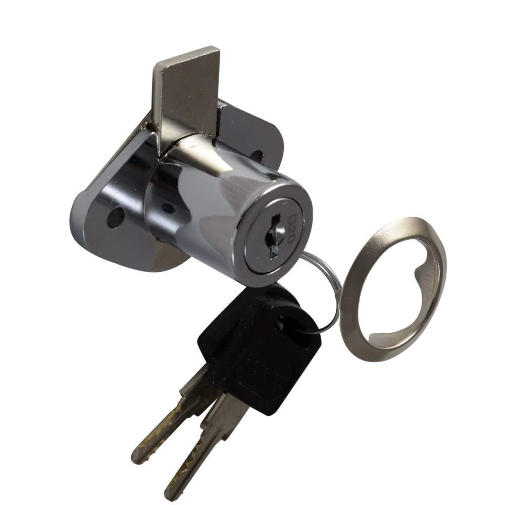 Desunia Office Desk Lock for Drawer & Door - 7/8'' (.875'') Bore - Polished Chrome - Keyed Differently - Includes Escutcheon Trim Ring, Strike, Screws - 2 Locks