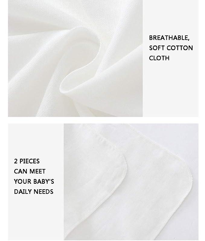 WYQ 2 Toallas de baño Blancas Toallas pequeñas para bebés, Gasa de algodón Unisex -60 × 60cm Toallas de recién Nacidos Suaves Juego de 2 Piezas Toallas de ...