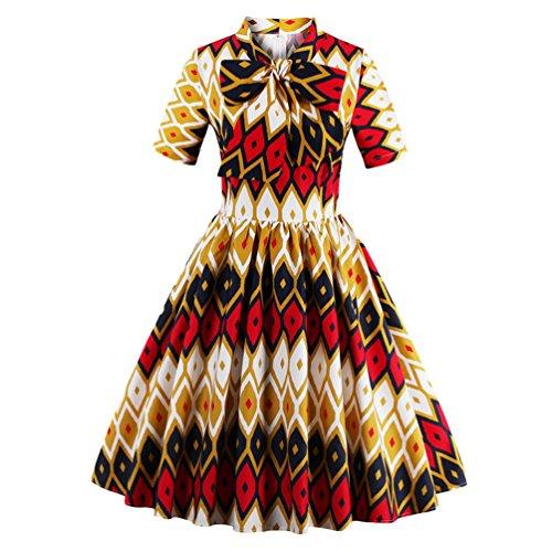 Manches Cocktail Pliss Robe Vintage Courtes Impression Multicolore Yiiquan de 1 Mlanges Femme Couleurs Ivqzp