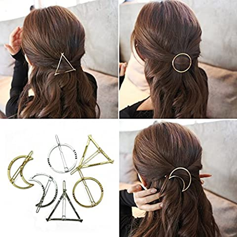 BeautyMood 6pcs Minimalist Dainty Gold Silver Hollow Geometric Metal Hairpin Hair Clip Clamps,Circle, Triangle and (Hair Pin Gold)