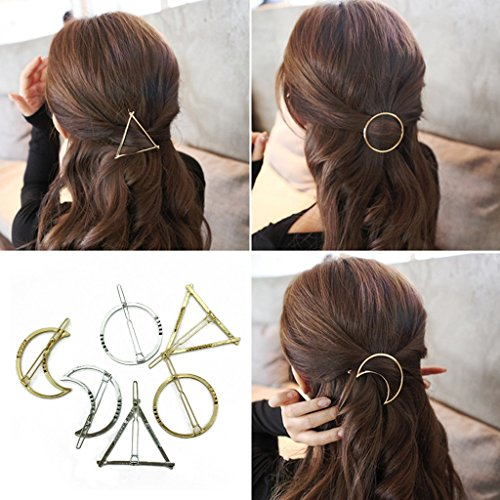 BeautyMood-6pcs-Minimalist-Dainty-Gold-Silver-Hollow-Geometric-Metal-Hairpin-Hair-Clip-ClampsCircle-Triangle-and-Moon