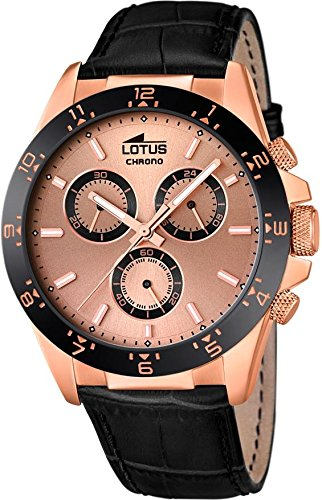 Lotus stainless steel chrono men watch with leather band