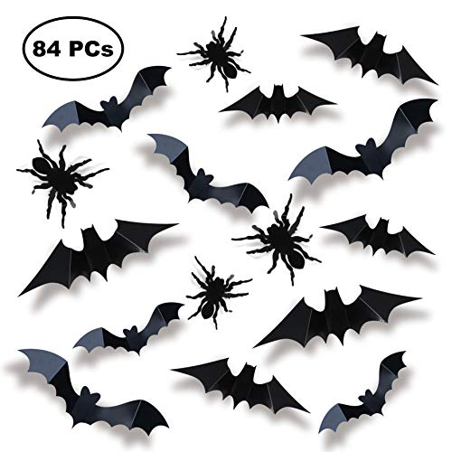 JOYIN 84 Assorted Halloween DIY Scary Wall Bats Spiders Wall Decal Wall Stickers PVC 3D Halloween Eve Decoration (include 90 Double-Sided Stickers)
