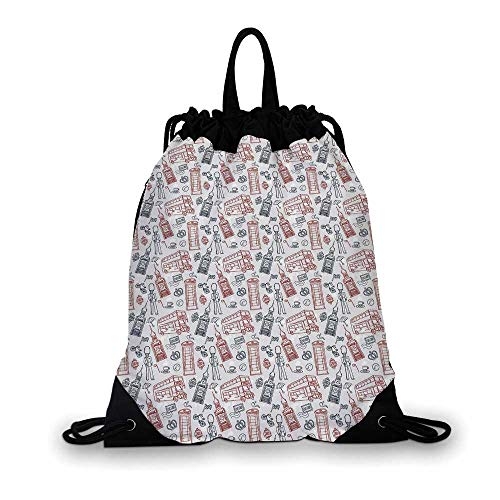 London Nice Drawstring Bag,Popular English Icons Collection Country Culture Tourist Attraction Decorative For hiking,7.4