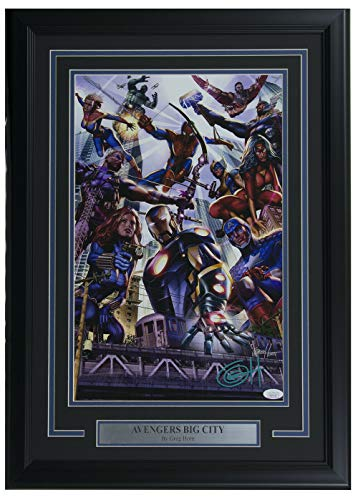 (Marvel Avengers Big City 11X17 Framed Lithograph Autographed Signed Memorabilia By Greg Horn - JSA Authentic)