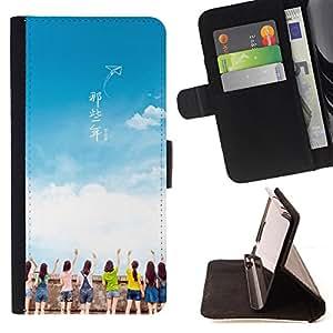 King Case - FOR Samsung Galaxy S6 EDGE - In those years - Prima caja de la PU billetera de cuero con ranuras para tarjetas, efectivo Compartimiento desmontable y correa para la mu?eca