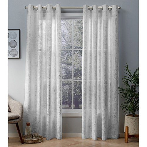 Exclusive Home Curtains Woodland Printed Metallic Branch Sheer Textured Linen Window Curtain Panel Pair with Grommet Top, 54x84, Winter Silver, 2 Piece ()