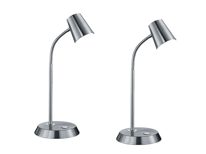Lámpara de escritorio LED FLEXIBLE EN Juego de 2 en níquel mate ...