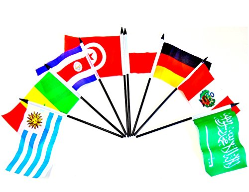 WORLD CUP 2018 SOCCER FLAGS 2018- SET of 32 Polyester 4''x6'' Flags, One Flag for Each Team Competing For the Cup, 4x6 Miniature Desk & Table Flags, Small Mini Stick Flags by World Flags Direct (Image #2)