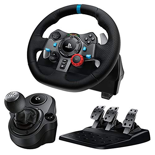 Logitech G29 Driving Force Race Wheel + Logitech G Driving Force Shifter Bundle for PS4 (Renewed)