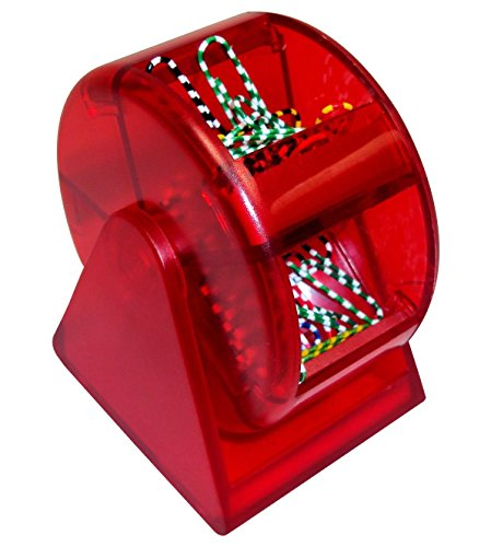 Paper Clip Dispenser - Red Plastic Ferris Wheel, 5 Compartments with Colorful Clips, Cheap office Supply, Fun Back To School Paper Clip Holder With Zebra Paper Clips.