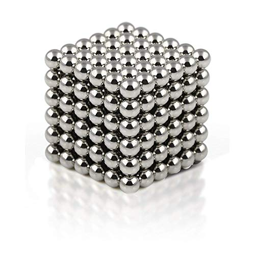 (truwire 5MM Magnetic Ball Set for Office Stress Relief Desk Sculpture Toy Perfect for Crafts, Jewelry and Education Magnetized Fidget Cube Provides Relief for Anxiety, ADHD, Autism, Boredom Silver)