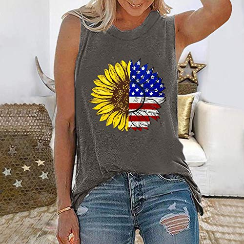 Summer Tops, Fashion New Trend Fashion Summer Sexy Printed Sleeveless t-Shirt Top for Ladies Girls(Gray_23,X-Large