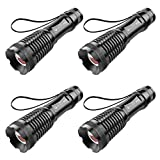 Ultra Bright Flashlight, OxyLED Zoomable 5 Modes CREE T6 Water Resistant LED Flash Light, Battery Powered(Not Included) Portable Aluminum Alloy Torch Light MD50 for Camping Hiking Emergency (4-pack)