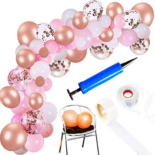Hashe Balloon Garland Kit | Pink Rose Gold White Balloons in Assorted Sizes | Decorations for Parties Wedding Baby Shower Graduation | Includes Glue Dots Strip Inflator Pump